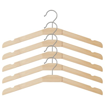TJENARE Clothes-hanger, bamboo, 5 pack