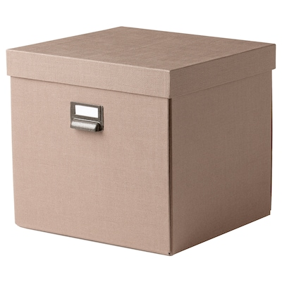 TJOG Storage box with lid, dark beige, 32x31x30 cm