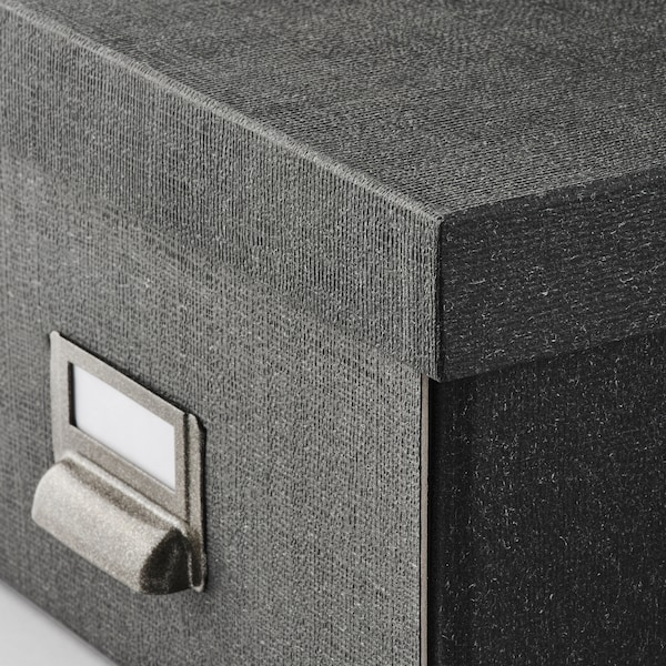 TJOG Storage box with lid, dark grey, 25x36x15 cm