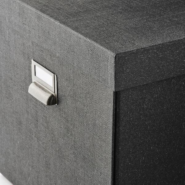TJOG Storage box with lid, dark grey, 32x31x30 cm