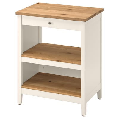 TORNVIKEN Kitchen island, off-white/oak, 72x52 cm