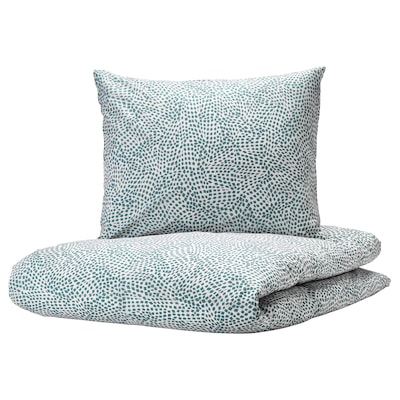 TRÄDKRASSULA Quilt cover and pillowcase, white/blue, 150x200/50x60 cm