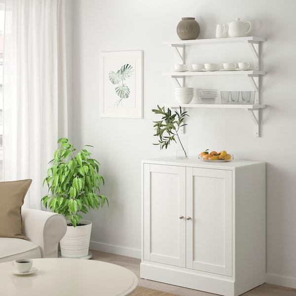 TRANHULT / SANDSHULT Wall shelf combination, white stained aspen, 80x20 cm