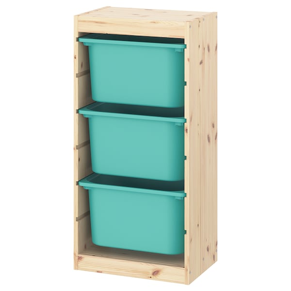 TROFAST Storage combination with boxes, light white stained pine/turquoise, 44x30x91 cm