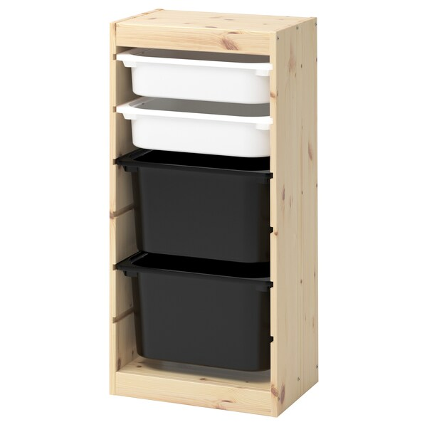 TROFAST Storage combination with boxes, light white stained pine white/black, 44x30x91 cm