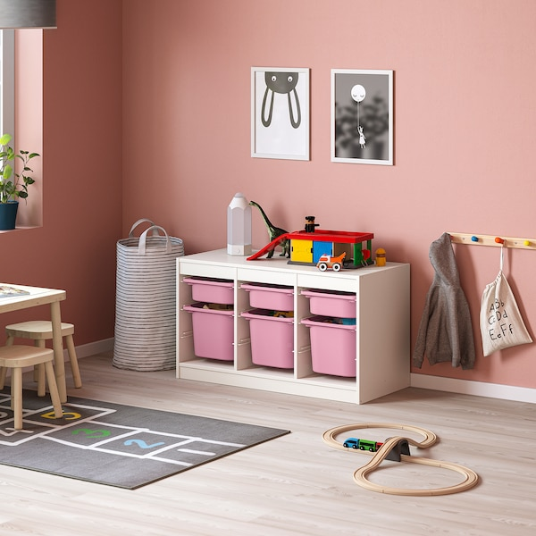 TROFAST Storage combination with boxes, white pink/pink, 99x44x56 cm