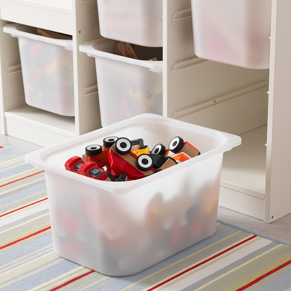 TROFAST Storage combination with boxes, white, 99x44x95 cm