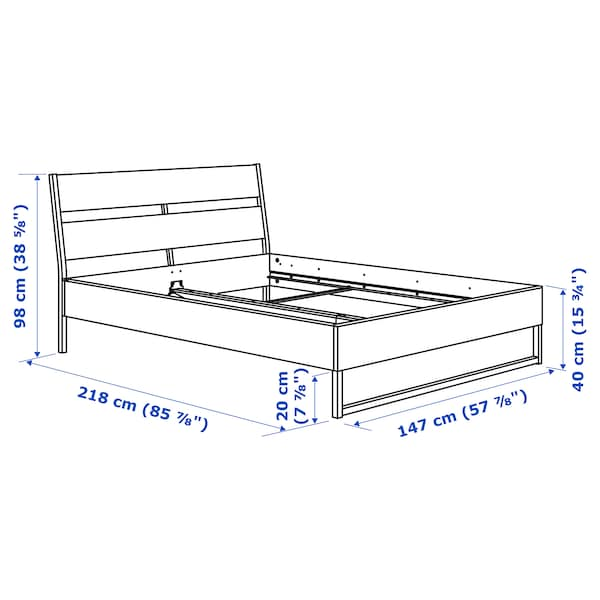 TRYSIL Bed frame, dark brown/black, 140x200 cm