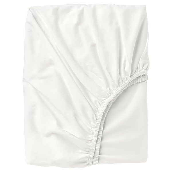 ULLVIDE Fitted sheet, white, 120x200 cm