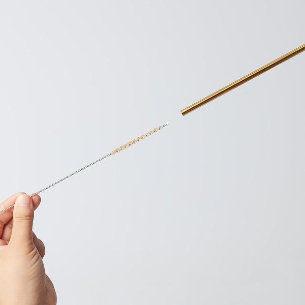 UPPSLUKAD Drinking straws/cleaning brush, stainless steel/multicolour