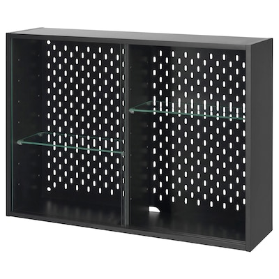 UPPSPEL Glass-door cabinet, dark grey