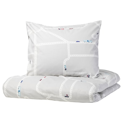 UPPTÅG Duvet cover and pillowcase, cars/roads pattern/grey, 150x200/50x60 cm