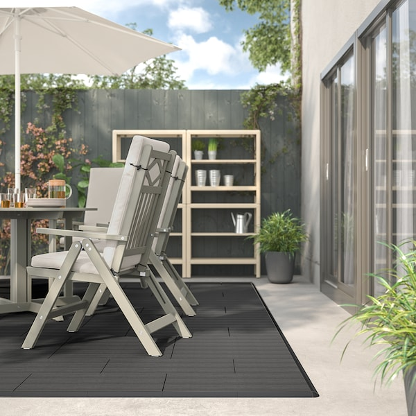 UTLÄNGAN Floor decking, outdoor, grey stained, 0.90 m²