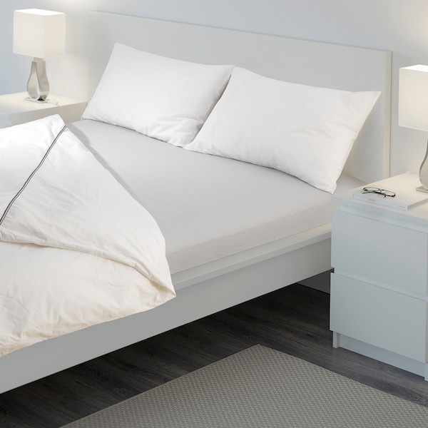 VÄGTISTEL Fitted sheet, light grey, 140x200 cm