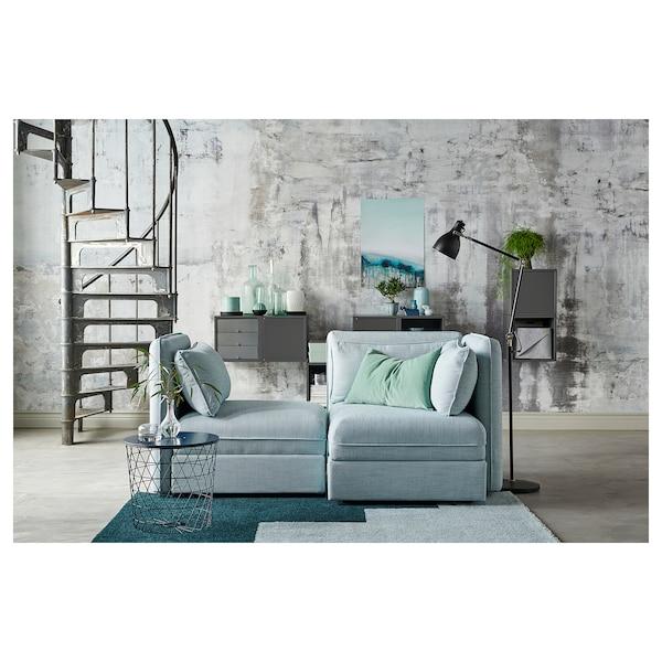VALLENTUNA 2-seat modular sofa, with storage/Hillared light blue