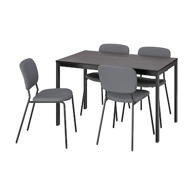 VANGSTA / KARLJAN Table and 4 chairs, black dark brown/Kabusa dark grey, 120/180 cm