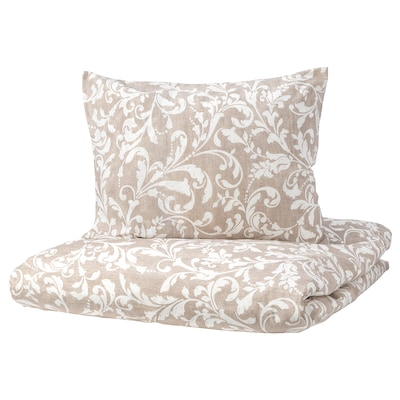 VÅRBRÄCKA Duvet cover and pillowcase, beige/white, 150x200/50x60 cm
