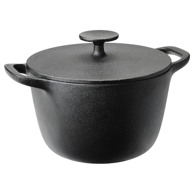 VARDAGEN Pot with lid, cast iron, 3 l
