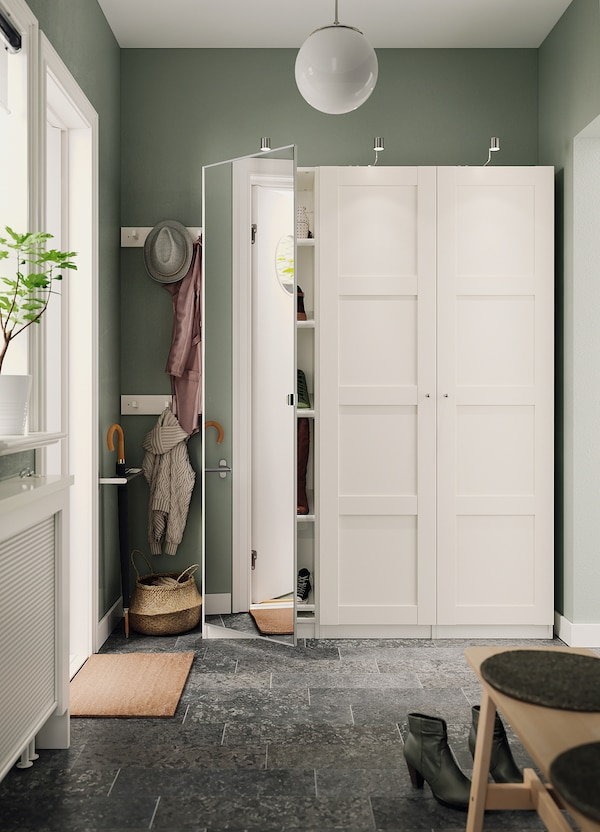 VIKEDAL Door with hinges, mirror glass, 50x195 cm
