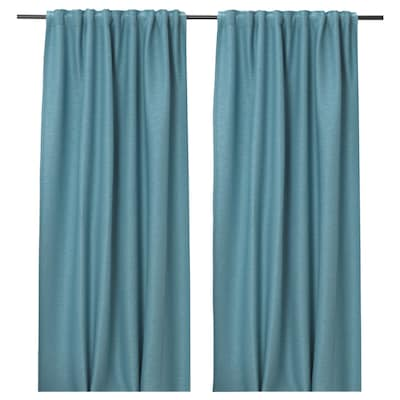 VILBORG Room darkening curtains, 1 pair, turquoise, 145x135 cm
