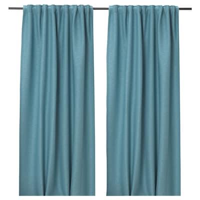 VILBORG Room darkening curtains, 1 pair, turquoise, 145x135 cm