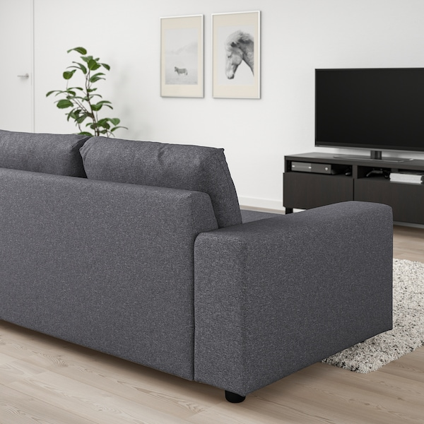 VIMLE 2-seat sofa-bed, with wide armrests/Gunnared medium grey