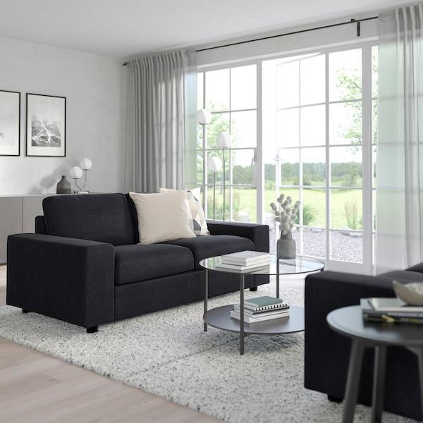 VIMLE 2-seat sofa-bed, with wide armrests/Saxemara black-blue
