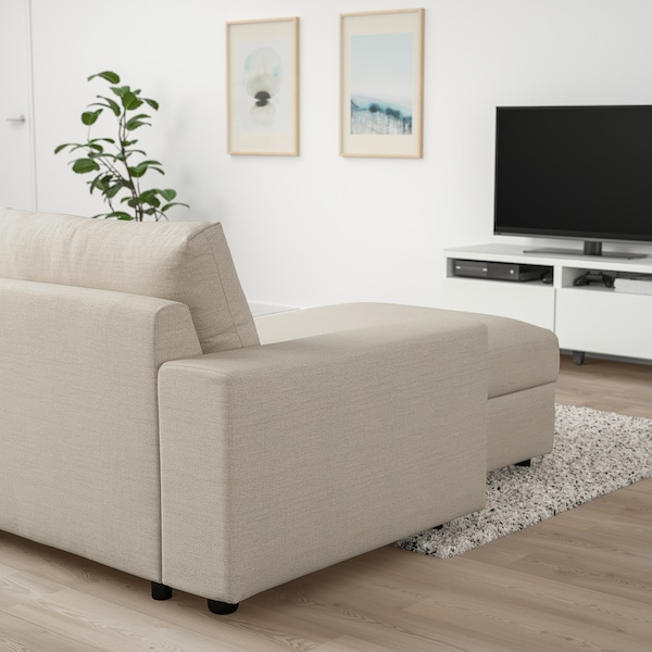 VIMLE 3-seat sofa-bed with chaise longue, with wide armrests/Gunnared beige