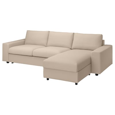 VIMLE 3-seat sofa-bed with chaise longue, with wide armrests/Hallarp beige