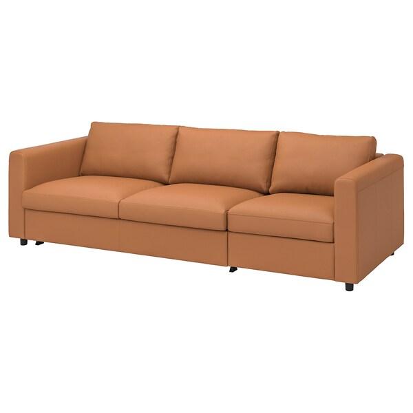VIMLE 3-seat sofa-bed Grann/Bomstad golden-brown 53 cm 83 cm 68 cm 261 cm 98 cm 241 cm 55 cm 48 cm 140 cm 200 cm 12 cm
