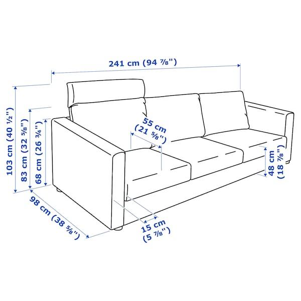 VIMLE 3-seat sofa, with headrest/Hallarp beige