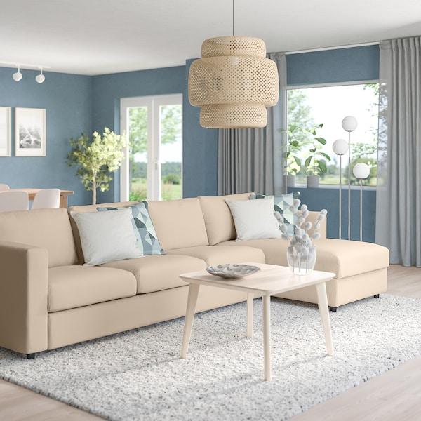 VIMLE 4-seat sofa with chaise longue, Hallarp beige