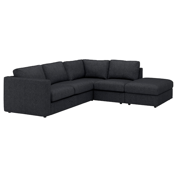 VIMLE Corner sofa, 4-seat, with open end/Tallmyra black/grey