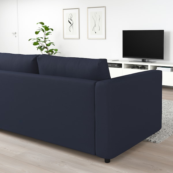 VIMLE corner sofa-bed, 4-seat with open end/Orrsta black-blue 53 cm 83 cm 68 cm 98 cm 241 cm 235 cm 268 cm 55 cm 48 cm 140 cm 200 cm 12 cm