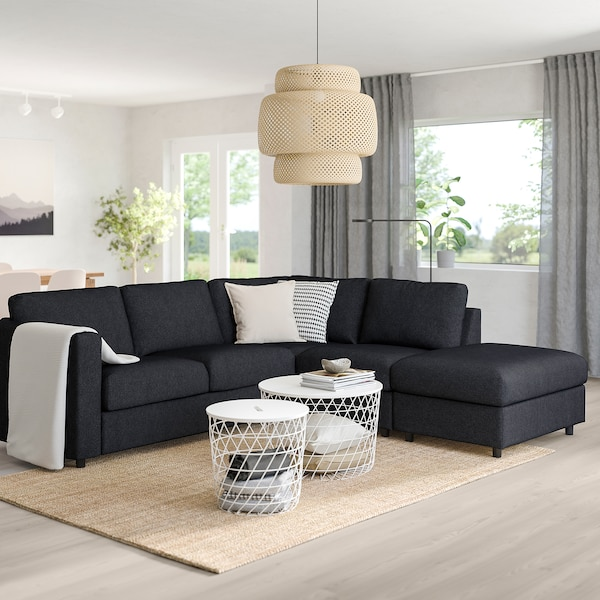 VIMLE corner sofa-bed, 4-seat with open end/Tallmyra black/grey 53 cm 83 cm 68 cm 98 cm 241 cm 235 cm 268 cm 55 cm 48 cm 140 cm 200 cm 12 cm