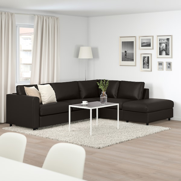 VIMLE corner sofa-bed, 4-seat with open end/Farsta black 53 cm 83 cm 68 cm 98 cm 241 cm 235 cm 268 cm 55 cm 48 cm 140 cm 200 cm 12 cm