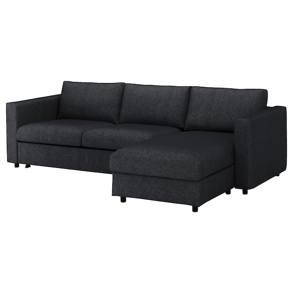 VIMLE Cover for 3-seat sofa-bed, with chaise longue/Tallmyra black/grey