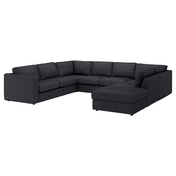 VIMLE Cover for u-shaped sofa, 6-seat, with open end/Tallmyra black/grey
