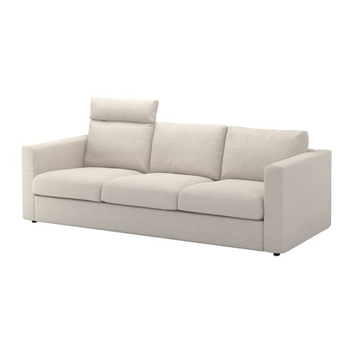 Vimle 3 Seat Sofa With Headrest Gunnared Beige Ikea