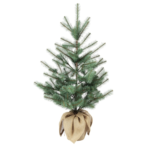 VINTER 2020 Artificial potted plant, in/outdoor jute/Christmas tree green-blue, 19 cm