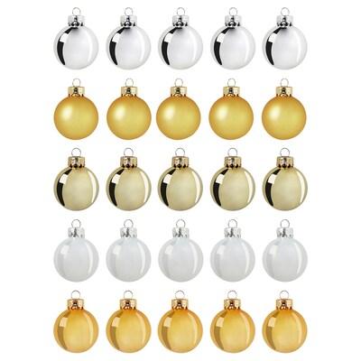 VINTER 2020 Decoration, bauble, glass gold-colour/white, 3.5 cm