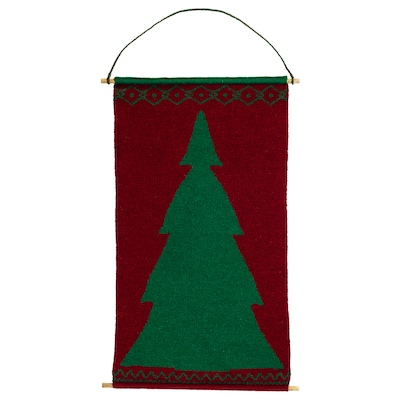 VINTER 2020 Wall decoration, knitted red/green, 45 cm