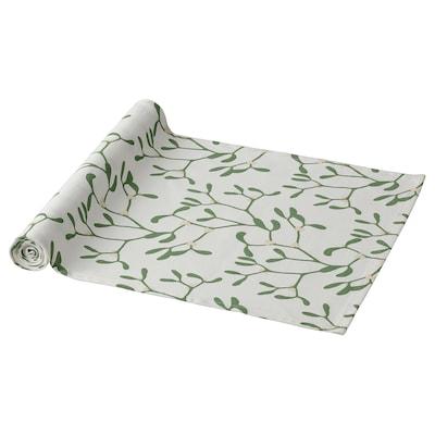 VINTER 2021 Table-runner, mistletoe pattern white/green, 35x130 cm