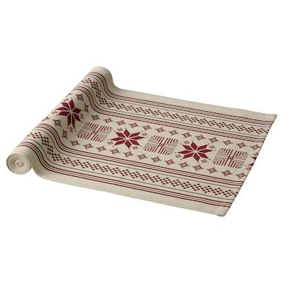 VINTER 2021 Table-runner, stripe pattern beige/red, 35x130 cm