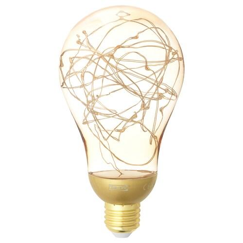 VINTERLJUS LED bulb E26 20 lumen gold-colour 2500 K 16.5 cm 90 mm 0.6 W