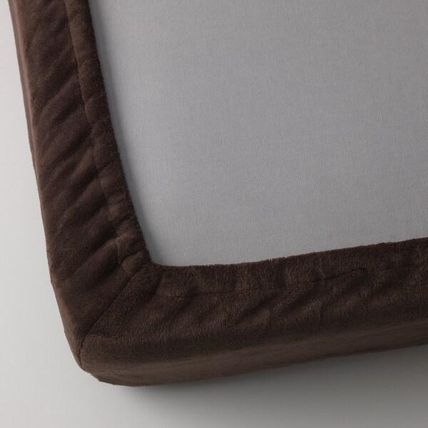 VITGRÖE Fitted sheet, brown, 90x200 cm