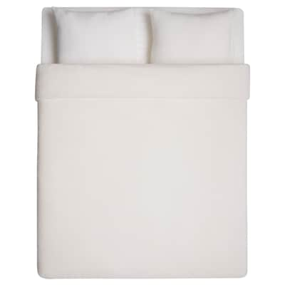 VITGRÖE Quilt cover and 2 pillowcases, white, 200x200/50x60 cm