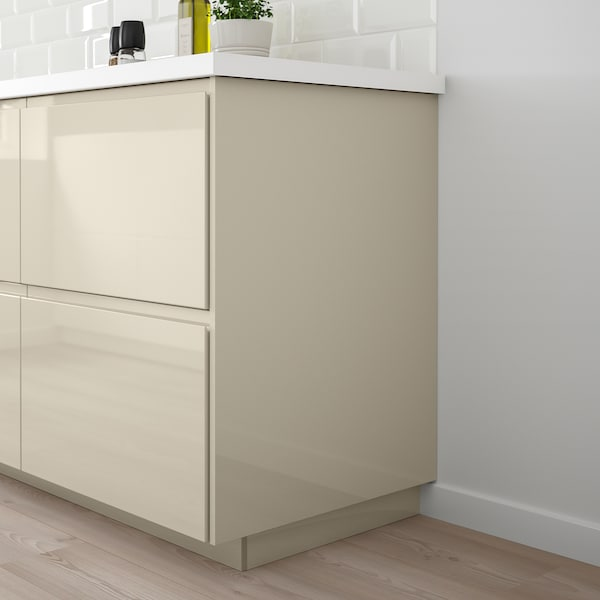 VOXTORP Cover panel, high-gloss light beige, 39x86 cm