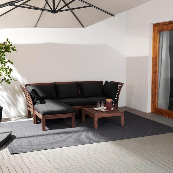ÄPPLARÖ エップラロー 3人掛けモジュールソファ 屋外用, フットスツール付き ブラウンステイン/ホッロー ブラック, 143/223x80x78 cm