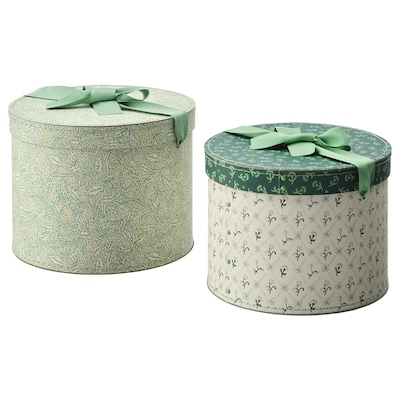 アンニリナレ ボックス2個セット, 丸形/グリーン フローラルパターン